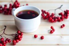 Τσάι και απολαύσεις για ένα σπίτι διακοπών Πίνω τα καρύδια και τα μούρα Spr στοκ εικόνες
