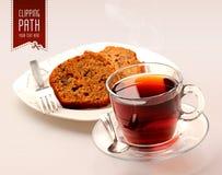 Τσάι και κέικ με το ψαλίδισμα της πορείας Στοκ Φωτογραφία