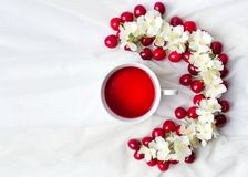 Τσάι και φρούτα κερασιών flatlay Στοκ Εικόνες