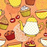 Τσάι και muffins γλυκό άνευ ραφής σχέδιο Στοκ Φωτογραφία