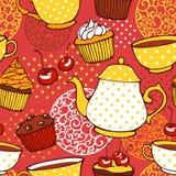 Τσάι και muffins γλυκό άνευ ραφής σχέδιο Στοκ εικόνες με δικαίωμα ελεύθερης χρήσης