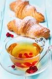 Τσάι με τα μούρα ενός guelder-τριαντάφυλλου και φρέσκων croissants Στοκ εικόνα με δικαίωμα ελεύθερης χρήσης