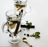 Τσάι με τη μέντα, την κανέλα και το λεμόνι Στοκ φωτογραφία με δικαίωμα ελεύθερης χρήσης