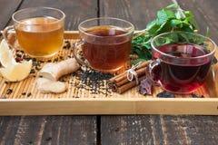 Τσάι με το λεμόνι, την πιπερόριζα, την κανέλα και τη μέντα Στοκ φωτογραφία με δικαίωμα ελεύθερης χρήσης