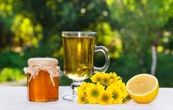 Τσάι λουλουδιών, φρέσκα μέλι και λεμόνι Ένα φυσικό φαρμακείο στοκ εικόνες