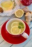 Τσάι πιπεροριζών με το λεμόνι και τη μέντα Στοκ εικόνες με δικαίωμα ελεύθερης χρήσης