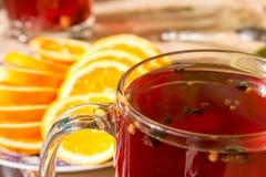Τσάι σε μια διαφανή κούπα με τα καρυκεύματα Στοκ φωτογραφίες με δικαίωμα ελεύθερης χρήσης