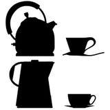 τσάι σκιαγραφιών δοχείων περιγραμμάτων γυαλιού καφέ Διανυσματική απεικόνιση