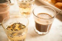τσάι στοιχείων σχεδίου καφέ Στοκ Εικόνες