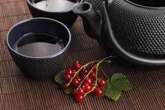Τσάι στο φλυτζάνι και τη φρέσκια σταφίδα Στοκ Φωτογραφίες