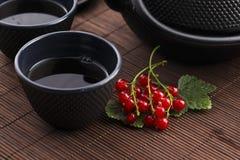 Τσάι στο φλυτζάνι και τη φρέσκια σταφίδα Στοκ Εικόνες