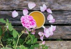 Τσάι στο ύφος χωρών στο θερινό κήπο στο χωριό Φλυτζάνι Vintafe του πράσινου βοτανικού τσαγιού στους ξεπερασμένους ξύλινους πίνακε στοκ φωτογραφία