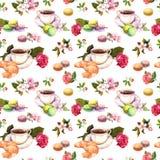 Τσάι, σχέδιο καφέ - λουλούδια, croissant, φλυτζάνα τσαγιού, macaroon κέικ watercolor seamless Στοκ εικόνα με δικαίωμα ελεύθερης χρήσης