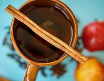 Τσάι της Apple με τα καρυκεύματα σε ένα φλυτζάνι Στοκ Εικόνες
