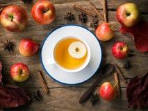 Τσάι της Apple στο άσπρο φλυτζάνι για την έννοια ποτών φθινοπώρου και πτώσης Στοκ Εικόνες