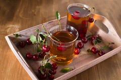 Τσάι φρούτων με το κεράσι Στοκ Εικόνα