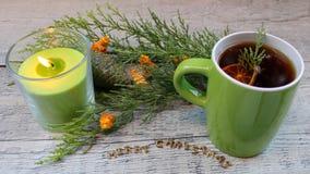 Τσάι Χριστουγέννων με τα ξηρά λεμόνια, το κερί και τα arborvitae Στοκ φωτογραφίες με δικαίωμα ελεύθερης χρήσης