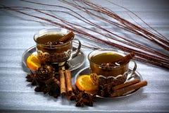 Τσάι Χριστουγέννων με την κανέλα Στοκ Εικόνες