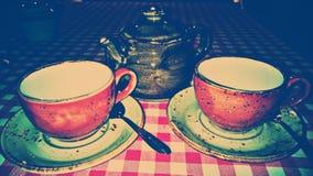 τσάι δύο φλυτζανιών Στοκ εικόνα με δικαίωμα ελεύθερης χρήσης