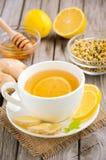 Τσάι Chamomile με το λεμόνι, την πιπερόριζα και το μέλι Στοκ φωτογραφίες με δικαίωμα ελεύθερης χρήσης