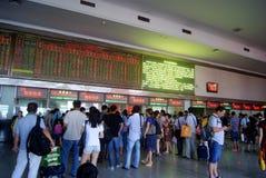 Τσάνγκσα Κίνα: το γραφείο εκδόσεως εισιτηρίων σταθμών τρένου Στοκ Εικόνες