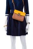 Τσάντα δέρματος με το πουκάμισο ναυτικών Στοκ Εικόνα
