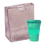 Τσάντα δέρματος Watercolor με ένα φλιτζάνι του καφέ Στοκ Εικόνα