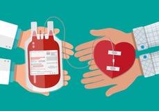 Τσάντα αίματος και χέρι του χορηγού με την καρδιά Στοκ Φωτογραφία