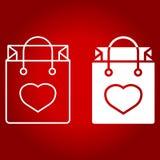 Τσάντα αγορών με τη γραμμή και glyph το εικονίδιο καρδιών ελεύθερη απεικόνιση δικαιώματος