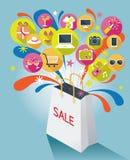 Τσάντα αγορών με το κείμενο πώλησης και τα διάφορα εικονίδια Απεικόνιση αποθεμάτων