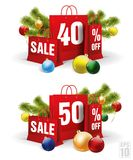 Τσάντα αγορών Χριστουγέννων που τυπώνεται με την έκπτωση σαράντα και πενήντα διάνυσμα Στοκ Εικόνα