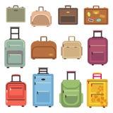 Τσάντα αποσκευών ταξιδιού, διανυσματικά επίπεδα εικονίδια βαλιτσών Στοκ Εικόνες