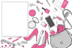 Τσάντα γυναικών με τα καλλυντικά, τα παπούτσια και το smartphone Τα προσωπικά αποτελέσματα μειώθηκαν από την τσάντα Διανυσματική  διανυσματική απεικόνιση
