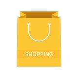 Τσάντα εγγράφου αγορών κίτρινη Στοκ εικόνα με δικαίωμα ελεύθερης χρήσης