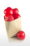 Τσάντα εγγράφου με πολλούς κόκκινη καρδιά Στοκ Εικόνα