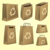 Τσάντα εγγράφου με το ανακύκλωσης διάνυσμα λογότυπων Στοκ εικόνα με δικαίωμα ελεύθερης χρήσης