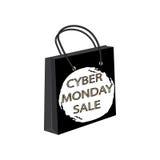 Τσάντα εγγράφου πώλησης Δευτέρας Cyber γύρω από το κτύπημα βουρτσών watercolor στο άσπρο διάνυσμα υποβάθρου Στοκ φωτογραφίες με δικαίωμα ελεύθερης χρήσης
