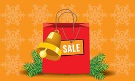 Τσάντα εγγράφου συσκευασίας Χριστουγέννων αγορών Στοκ εικόνα με δικαίωμα ελεύθερης χρήσης