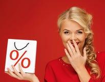 Τσάντα εκμετάλλευσης γυναικών με το σημάδι τοις εκατό Στοκ φωτογραφία με δικαίωμα ελεύθερης χρήσης