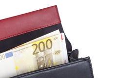 Τσάντα με τα ευρο- τραπεζογραμμάτια χρημάτων Στοκ Φωτογραφίες