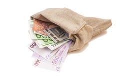 Τσάντα με τα ευρο- τραπεζογραμμάτια Στοκ φωτογραφία με δικαίωμα ελεύθερης χρήσης