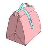 Τσάντα με την κλειδαριά και το λουρί Οι κυρίες δέρματος τοποθετούν σε σάκκο σκίτσο μόδας επίσης corel σύρετε το διάνυσμα απεικόνι Στοκ Φωτογραφία
