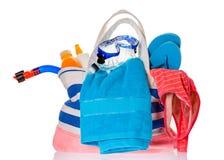 Τσάντα παραλιών που απομονώνεται Στοκ Εικόνες