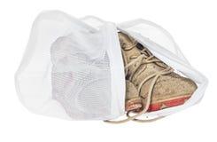 Τσάντα πλυσίματος για τα λεπτά ενδύματα, παπούτσια, εσώρουχο, στηθόδεσμος Ένα πλυντήριο στοκ εικόνα