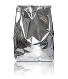 Τσάντα συσκευασίας φύλλων αλουμινίου που απομονώνεται στο λευκό Στοκ Εικόνες