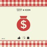 Τσάντα του εικονιδίου χρημάτων με το σύμβολο δολαρίων Στοκ Εικόνες