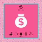 Τσάντα του εικονιδίου χρημάτων με το σύμβολο δολαρίων Στοκ εικόνα με δικαίωμα ελεύθερης χρήσης