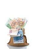 Τσάντα των ευρο- λογαριασμών χρημάτων Στοκ εικόνες με δικαίωμα ελεύθερης χρήσης