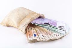 Τσάντα των ευρώ Στοκ Εικόνες
