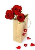 Τσάντα των τριαντάφυλλων βαλεντίνων Στοκ Εικόνα